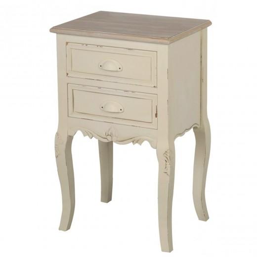 Cabinet din lemn de plop si MDF, cu 2 sertare Rimini RI021 Cream / Light Brown, l41xA31xH67 cm