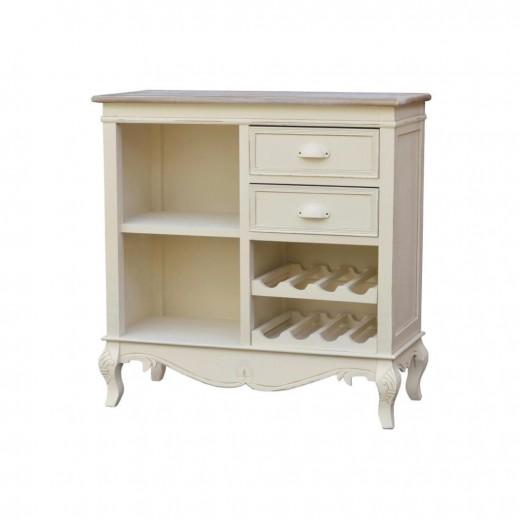 Cabinet din lemn de plop si MDF, cu 2 sertare Rimini RI111 Cream / Light Brown, l80xA35xH81 cm