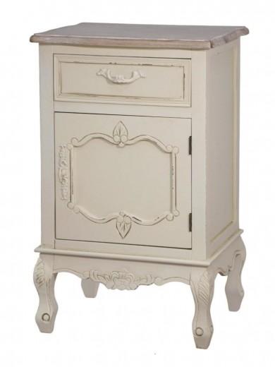 Cabinet din lemn de plop si MDF, cu 1 sertar si 1 usa Savona SAV011 Cream / Light Brown, l45xA35xH70 cm