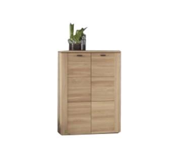 Cabinet din lemn de stejar, cu 2 usi, Keros Natural, l80xA45,1xH117,7 cm