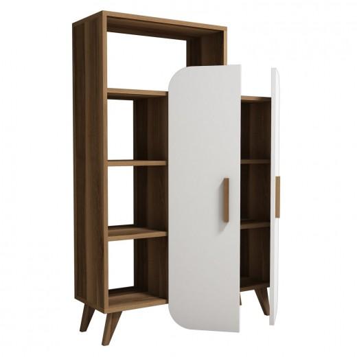 Cabinet din pal cu 2 usi Form Nuc / Alb, l90xA32xH132 cm