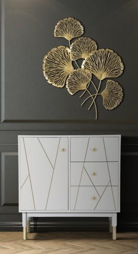 Cabinet din MDF si metal, cu 3 sertare si 1 usa Luxy Alb / Auriu, l80xA40xH82,5 cm