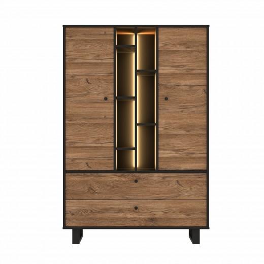 Cabinet din metal si pal, cu 2 sertare, 2 usi si LED inclus Sedna Tall Stejar / Negru, l104,9xA42xH157 cm