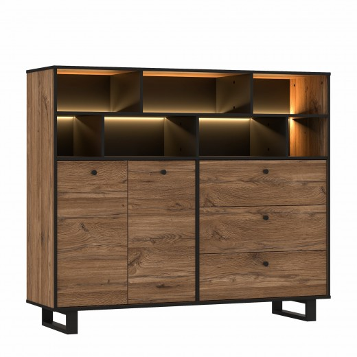 Cabinet din metal si pal, cu 3 sertare, 2 usi si LED inclus Sedna Large Stejar / Negru, l144,3xA42xH123,2 cm
