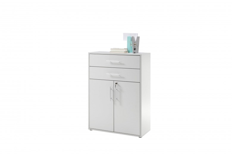 Cabinet din pal, cu 2 sertare si 2 usi Prato Gri deschis, l80xA35xH111 cm