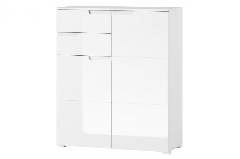 Cabinet din pal si MDF, cu 2 sertare si 2 usi Gabrielle 7 Alb, l100xA40xH119 cm
