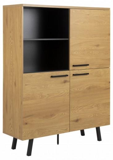 Cabinet din pal si metal, cu 3 usi Mallow Stejar / Negru, l120xA40xH158 cm