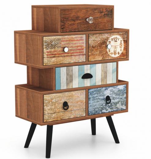 Cabinet din pal si metal, cu 6 sertare Mezo KM-2 Multicolor, l63xA29xH85 cm