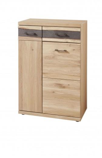 Cabinet hol din furnir si lemn, 2 usi si 1 sertar, Crispin Natur, l71xA39xH105 cm