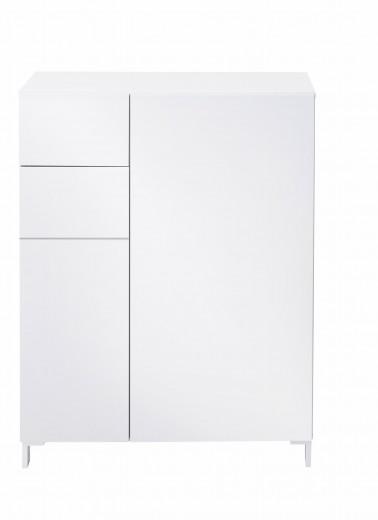 Cabinet hol din MDF, cu 2 usi si 1 sertar Kalis Alb, l80xA39xH104 cm