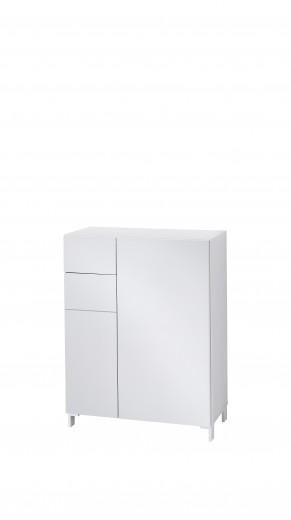 Cabinet hol din MDF cu 2 usi si 1 sertar, Kalis Gri, l80xA39xH104 cm