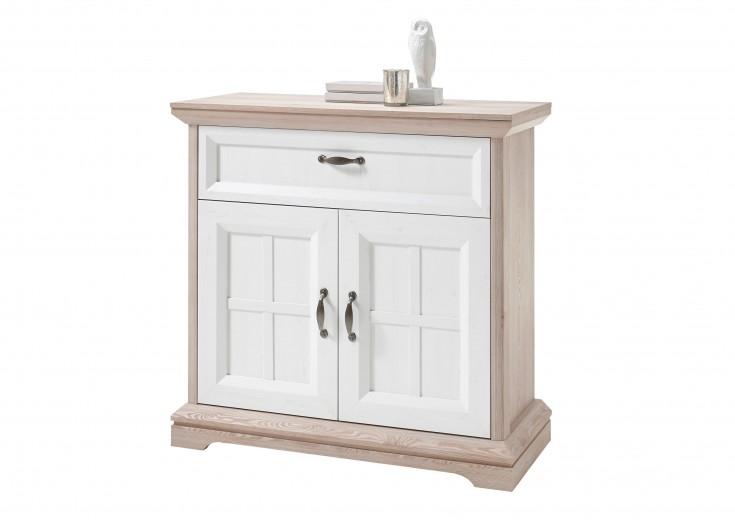 Cabinet hol din pal, cu 2 usi si 1 sertar, Ava Alb / Stejar, l100xA43xH99 cm