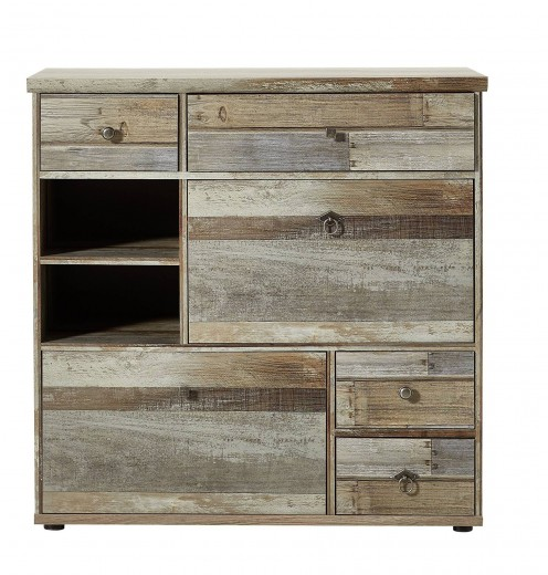 Cabinet hol din pal, cu 2 usi si 4 sertare Bazna Small Natur / Gri inchis, l99xA40xH98 cm
