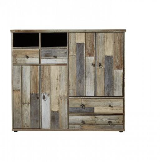 Cabinet hol din pal, cu 4 usi si 4 sertare Bazna Large Natur / Gri inchis, l130xA40xH117 cm