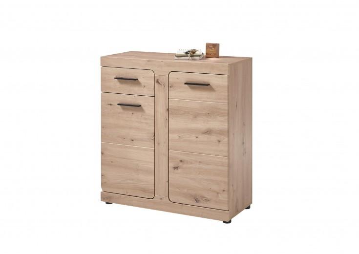 Cabinet hol din pal si MDF, cu 2 usi si 1 sertar Arsen Stejar, l85xA38xH92 cm