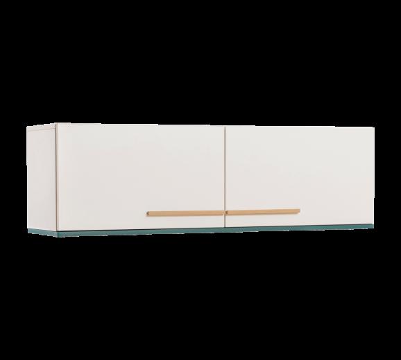 Cabinet suspendat din pal cu 2 usi, pentru tineret Lofter White / Turquoise, l131xA35xH40 cm
