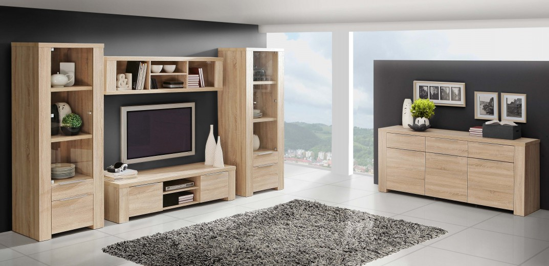 Set de mobila living din pal, 5 piese Calpeda Sonoma Oak