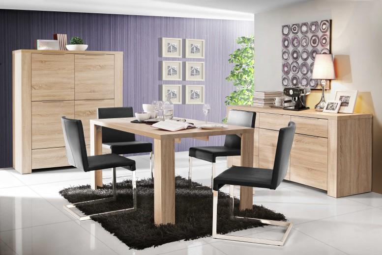 Set de mobila dining din pal, 3 piese Calpeda Sonoma Oak