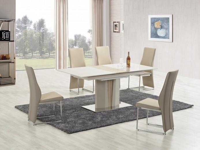 Set masa extensibila din MDF si metal Cameron Ivory / Sonoma Oak + 6 scaune K213 Cappuccino, L150-180xl90xH76 cm