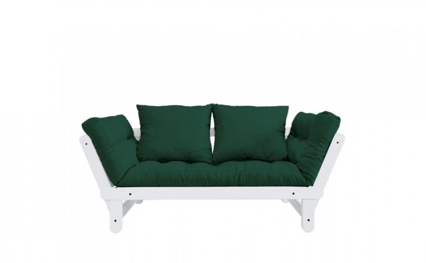 Canapea Extensibila 2 locuri, stofa si cadru lemn de pin, Beat White, l162xA80xH75 cm-Verde