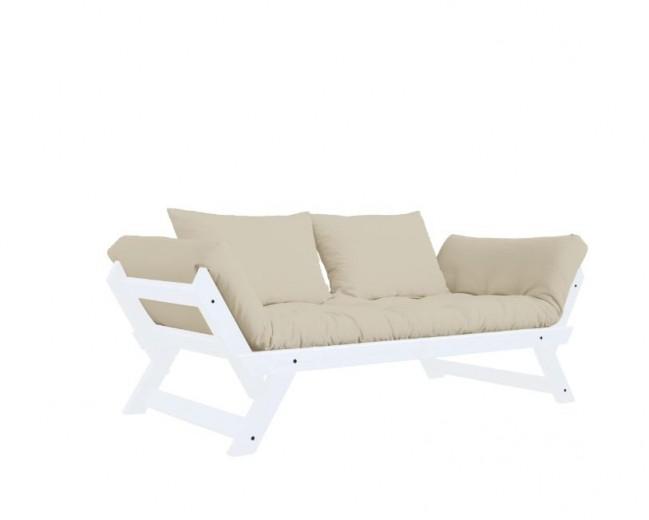 Canapea Extensibila 2 locuri, stofa si cadru lemn de pin, Bebop White, l180xA80xH75 cm