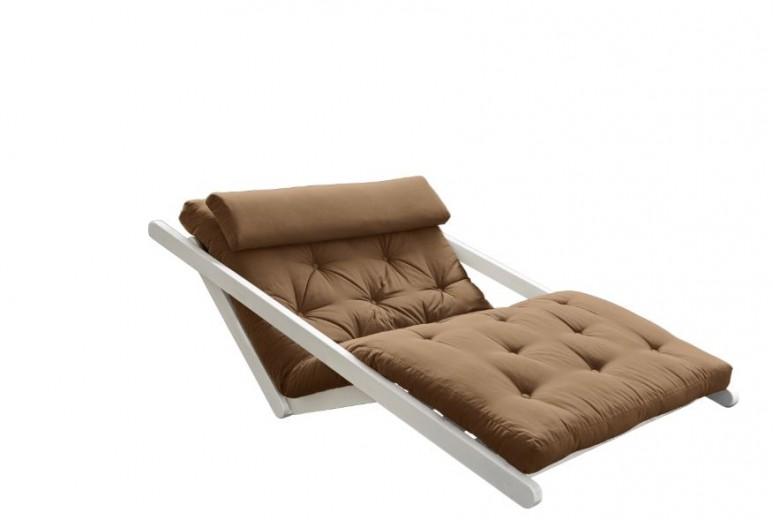 Canapea Extensibila 2 locuri, stofa si cadru lemn de pin, Figo White, l130xA185xH82 cm