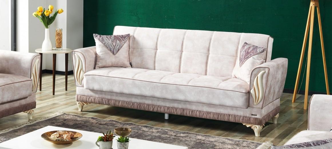 Canapea extensibila cu lada de depozitare, tapitata cu stofa 3 locuri Basak Crem K1, l228xA84xH94 cm