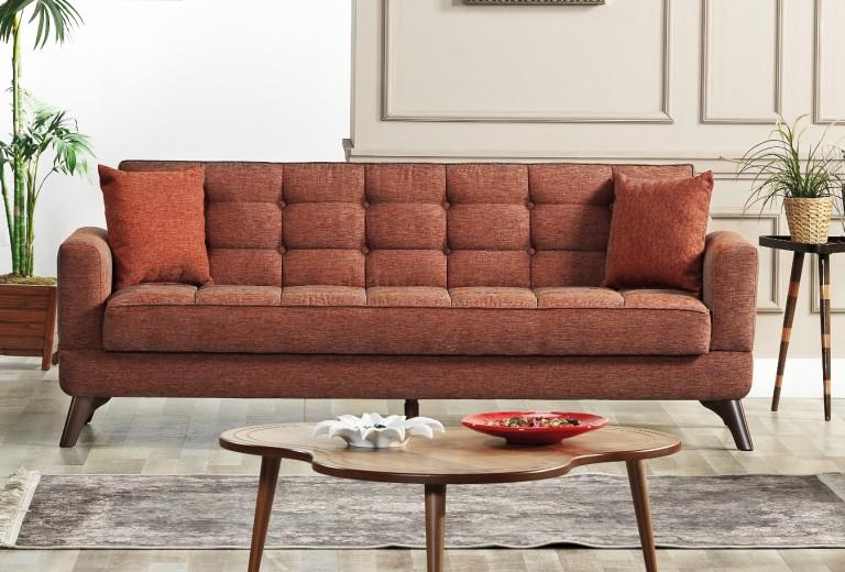 Canapea extensibila cu lada de depozitare, tapitata cu stofa 3 locuri Los Angeles Caramiziu K1, l220xA84xH86 cm