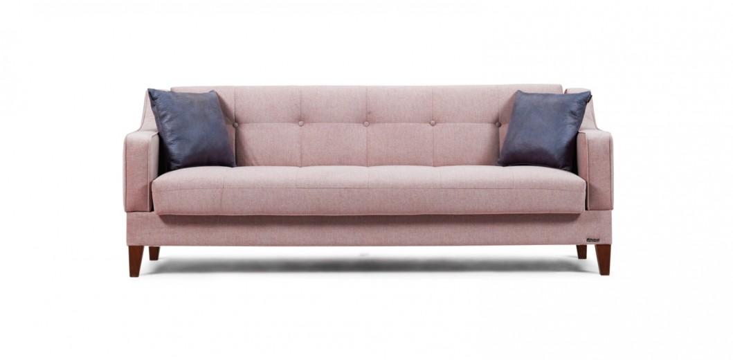 Canapea extensibila cu lada de depozitare, 3 locuri Lupo Roz K3, l217xA82xH84 cm