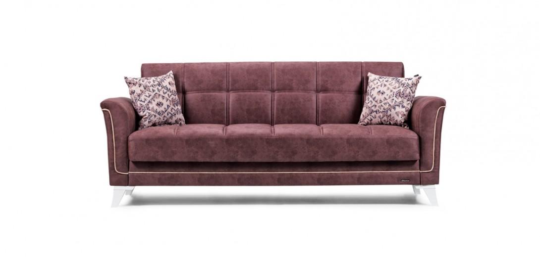 Canapea extensibila cu lada de depozitare, 3 locuri Petek Burgundy K4, l230xA84xH95 cm