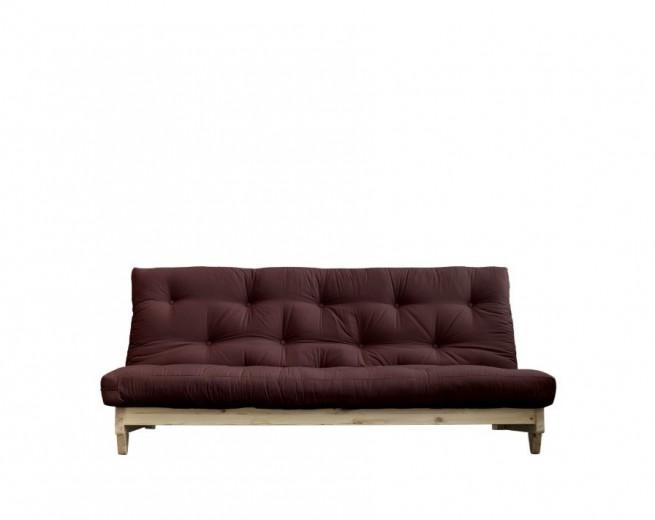 Canapea Extensibila 3 locuri, stofa si cadru lemn de pin, Fresh Natural, l200xA97xH90 cm-Maro