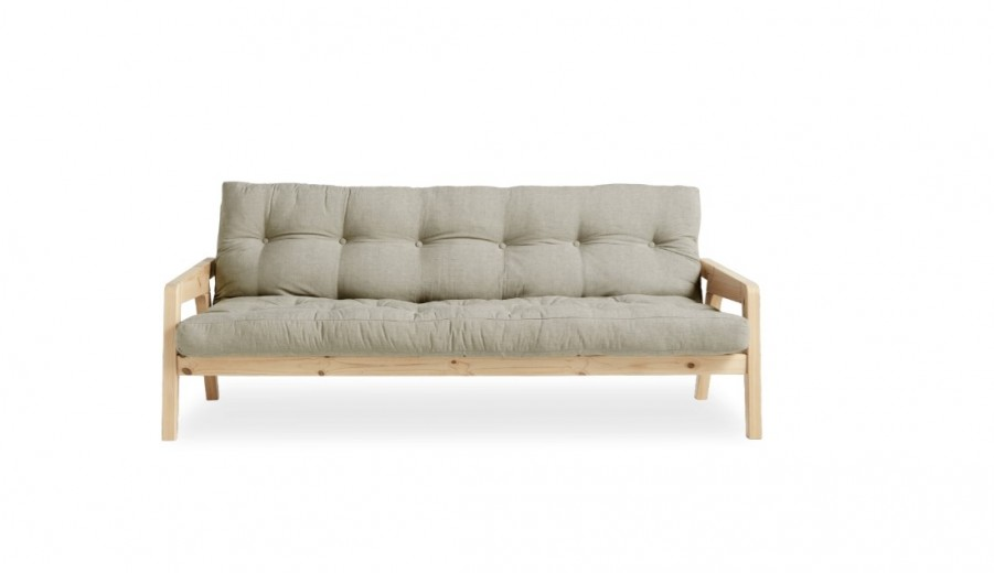 Canapea Extensibila 3 locuri, stofa si cadru lemn de pin, Grab Natural Linen, l200xA100xH84 cm