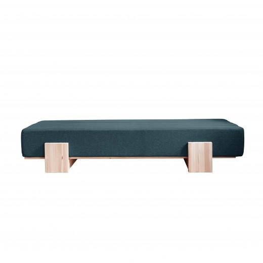 Canapea Extensibila 3 locuri, stofa si cadru lemn de pin, Umu Deep Blue, l200xA66xH40 cm