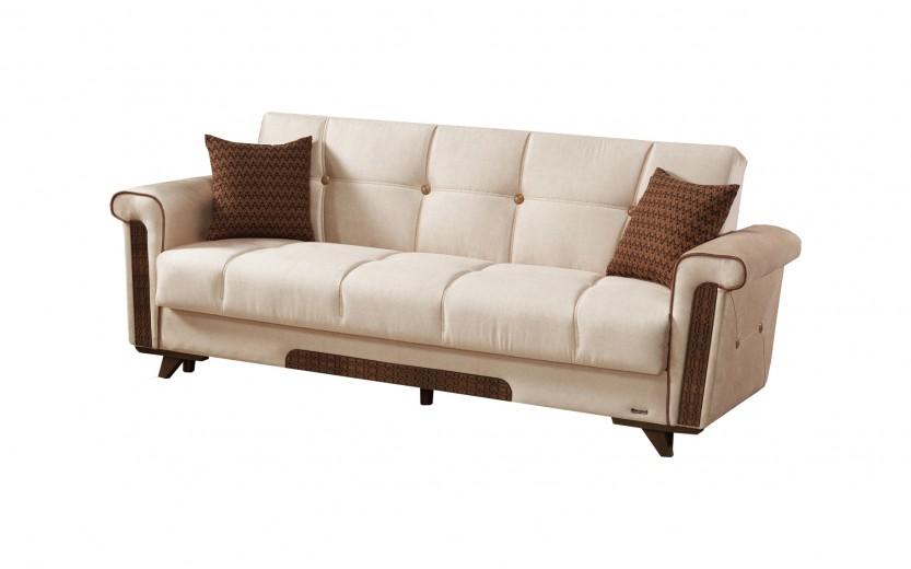 Canapea extensibila cu lada de depozitare, 3 locuri Bern Crem K1, l236xA84xH94 cm