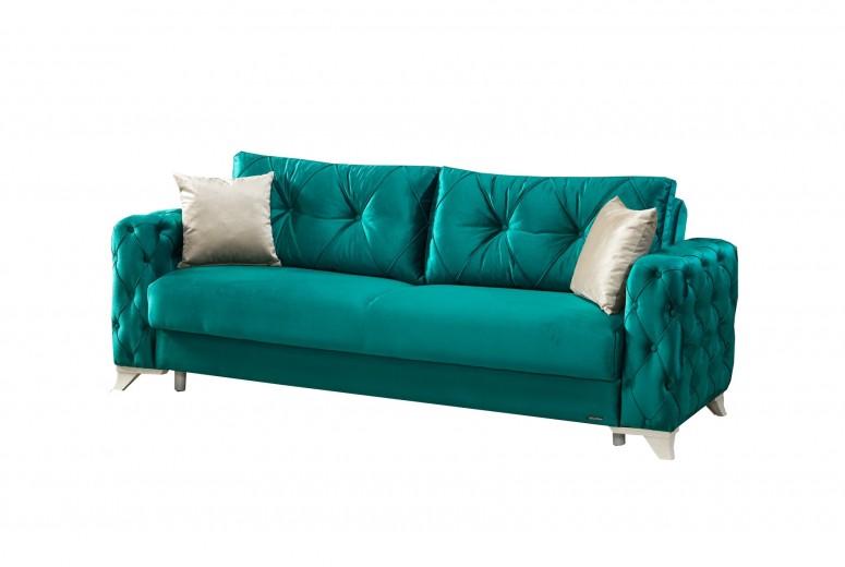 Canapea extensibila cu lada de depozitare, 3 locuri Soci Turcoaz K1, l232xA96xH85 cm