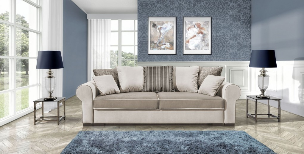 Canapea extensibila cu lada de depozitare, 3 locuri Deluxe, L256xA106xH90 cm