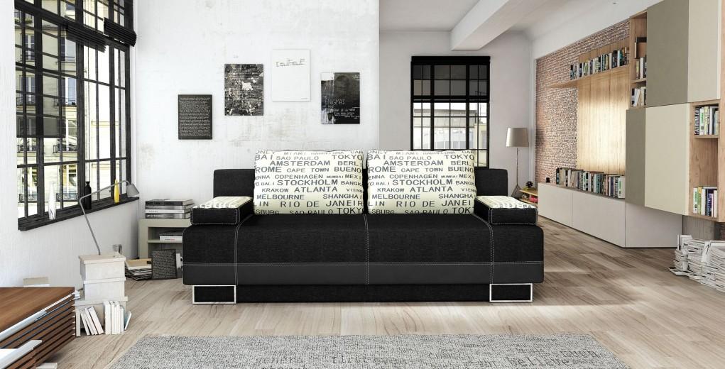Canapea extensibila cu lada de depozitare, 3 locuri Vegas, L197xA90xH88 cm