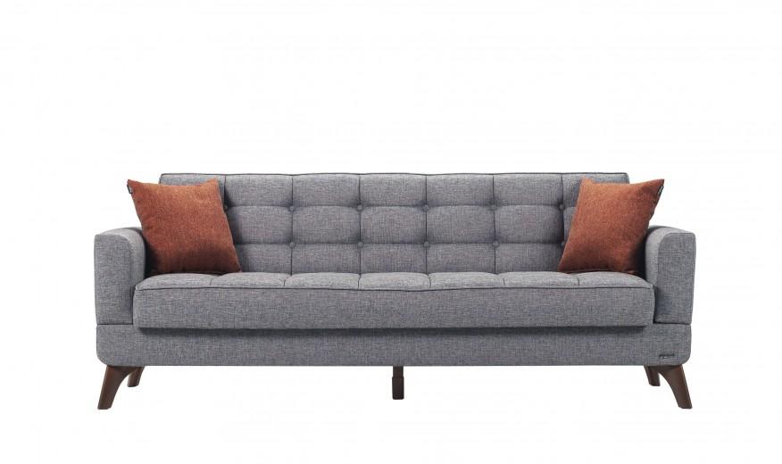 Canapea extensibila cu lada de depozitare, tapitata cu stofa 3 locuri Los Angeles Gri K2, l220xA84xH86 cm