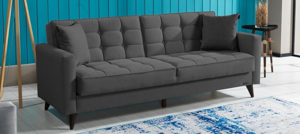 Canapea extensibila cu lada de depozitare, tapitata cu stofa 3 locuri Orlando Antracit K1, l214xA84xH86 cm