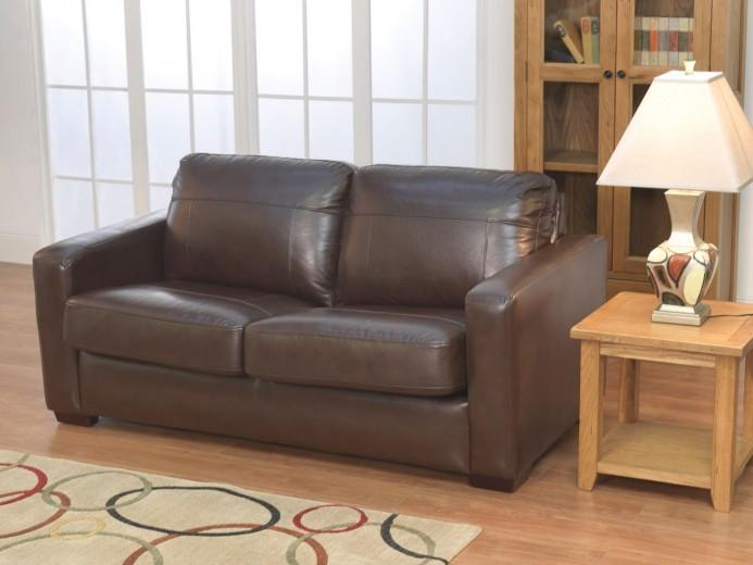 Canapea extensibila tapitata cu piele ecologica, 3 locuri Turin Brown, l171xA90xH93 cm