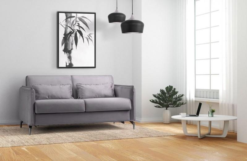 Canapea extensibila tapitata cu stofa, 3 locuri Fiona Gri, l186xA99xH92 cm