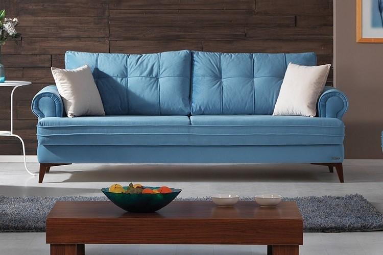 Canapea extensibila tapitata cu stofa, 3 locuri Step Albastru K1, l225xA92xH85 cm