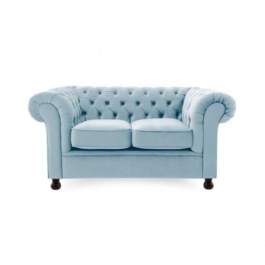 Canapea Fixa 2 locuri Chesterfield Sky Blue