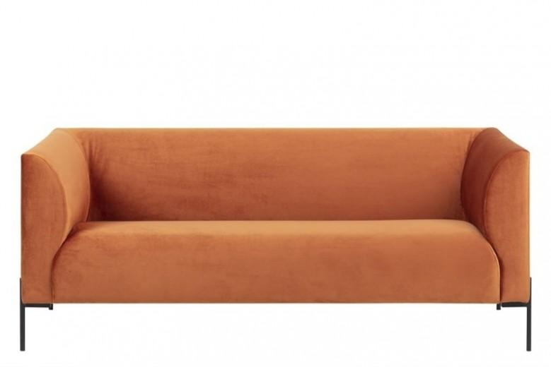 Canapea fixa cu 2,5 locuri tapitata cu stofa, cu picioare din metal Ontario Copper, l185xA76xH76 cm
