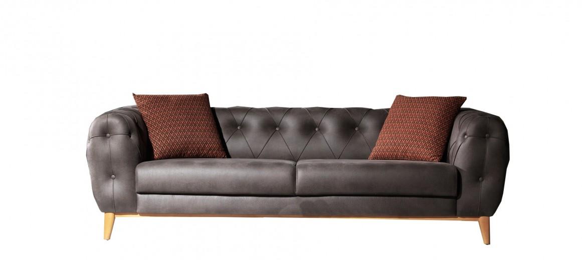 Canapea fixa tapitata, 3 locuri Lord Antracit K1, l242xA102xH75 cm