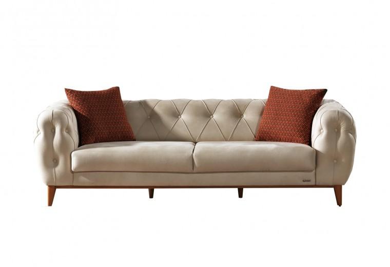 Canapea fixa tapitata, 3 locuri Lord Crem K2, l242xA102xH75 cm
