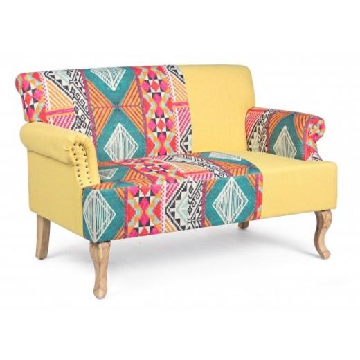 Canapea fixa tapitata cu stofa, 2 locuri Benjamin Patchwork Multicolor, l130xA78,5xH84 cm