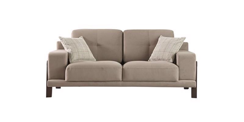 Canapea fixa tapitata cu stofa, 2 locuri Carlino Grej, l180xA90xH75 cm