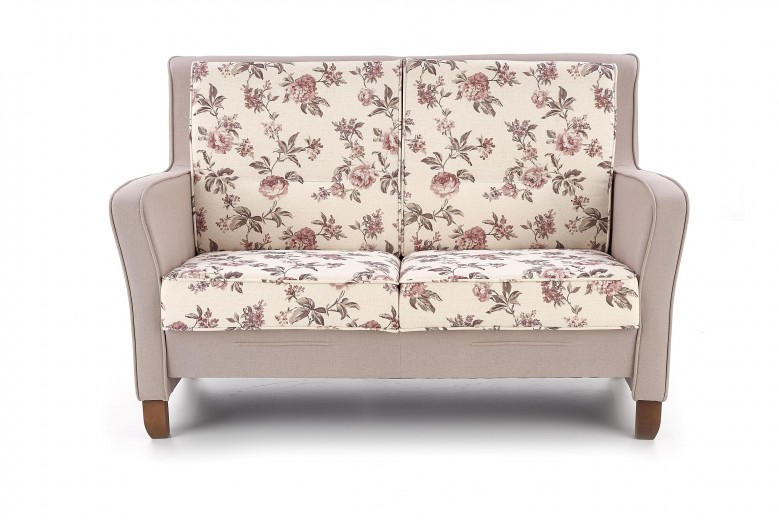 Canapea fixa tapitata cu stofa, 2 locuri London XL Multicolour / Walnut, l149xA70xH94 cm