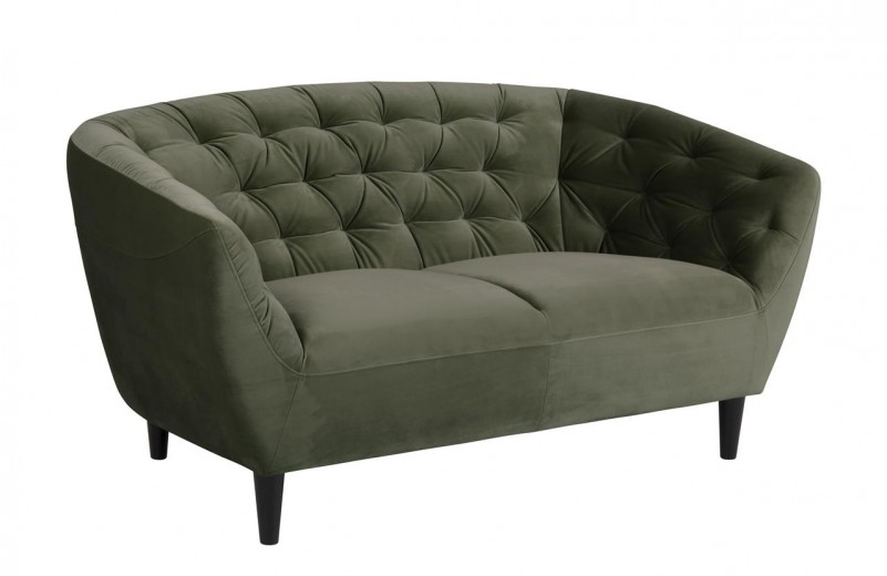 Canapea fixa tapitata cu stofa, 2 locuri Ria Verde inchis, l150xA84xH78 cm